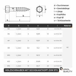 Sechskant Holzschrauben M10x50 DIN 571 Edelstahl A2