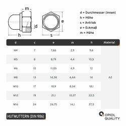 Hutmuttern selbstsichernd mit nichtmetallischem Klemmteil DIN 986 Edelstahl A2