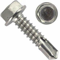 Bohrschrauben mit Sechskantkopf und Bund, Form K DIN 7504 Edelstahl A2