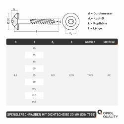 Spenglerschrauben TORX TX-25 mit U-Scheibe (20mm) ähnl. DIN 7995 Edelstahl A2