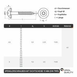Spenglerschrauben TORX TX-25 mit U-Scheibe (15mm) ähnl. DIN 7995 Edelstahl A2