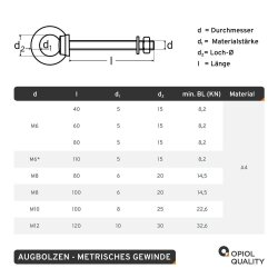 Augbolzen mit metrischem Gewinde M6x60 Edelstahl A4