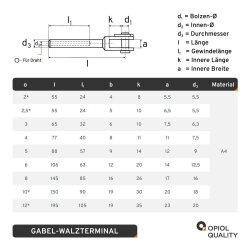Gabel-Walzterminal für D=3 geschweißt, Edelstahl A4