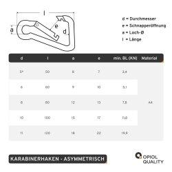 Karabinerhaken 8x80 asymmetrisch, Edelstahl A4