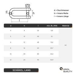 Schäkel D=5 lang ähnl. DIN 82101 Edelstahl A4