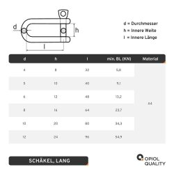 Schäkel D=12 lang ähnl. DIN 82101 Edelstahl A4