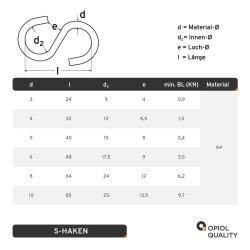 S-Haken D=3 Symmetrisch Edelstahl A4
