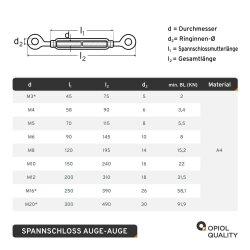 Spannschloss M8 Auge/Auge ähnl. DIN 1480 Edelstahl A4