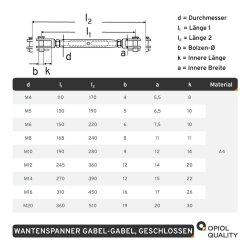 Wantenspanner M16 Gabel/Gabel geschweißt, geschlossen, Edelstahl A4