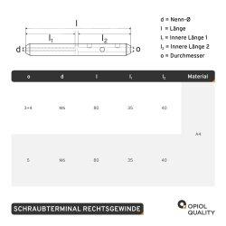 Schraubterminal D=3+4 M6 Rechtsgewinde, Edelstahl A4
