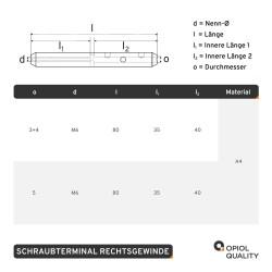Schraubterminal D=5 M6, Rechtsgewinde, Edelstahl A4