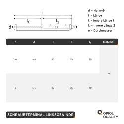 Schraubterminal D=5 M6 Linksgewinde, Edelstahl A4