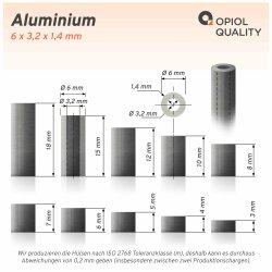 Distanzhülse 6x3,2x6 aus Aluminium
