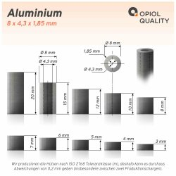 Distanzhülse 8x4,3x6 aus Aluminium