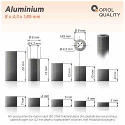 Distanzhülse 8x4,3x12 aus Aluminium
