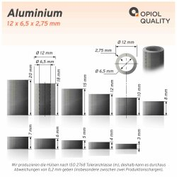 Distanzhülse 12x6,5x18 aus Aluminium