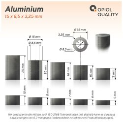 Distanzhülse 15x8,5x7 aus Aluminium