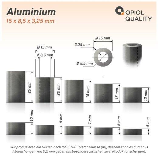 Distanzhülse 15x8,5x12 aus Aluminium