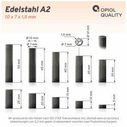 Distanzhülse 10x7x50 aus Edelstahl A2, Rohr...