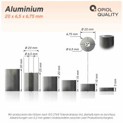 Distanzhülse 20x6,5x15 aus Aluminium