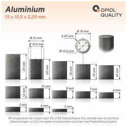 Distanzhülse 15x10,5x15 aus Aluminium