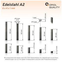 Distanzhülse 6x4x20 aus Edelstahl A2, Rohr...