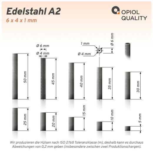 Distanzhülse 6x4x40 aus Edelstahl A2, Rohr geschweißt