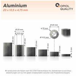 Distanzhülse 20x10,5x15 aus Aluminium